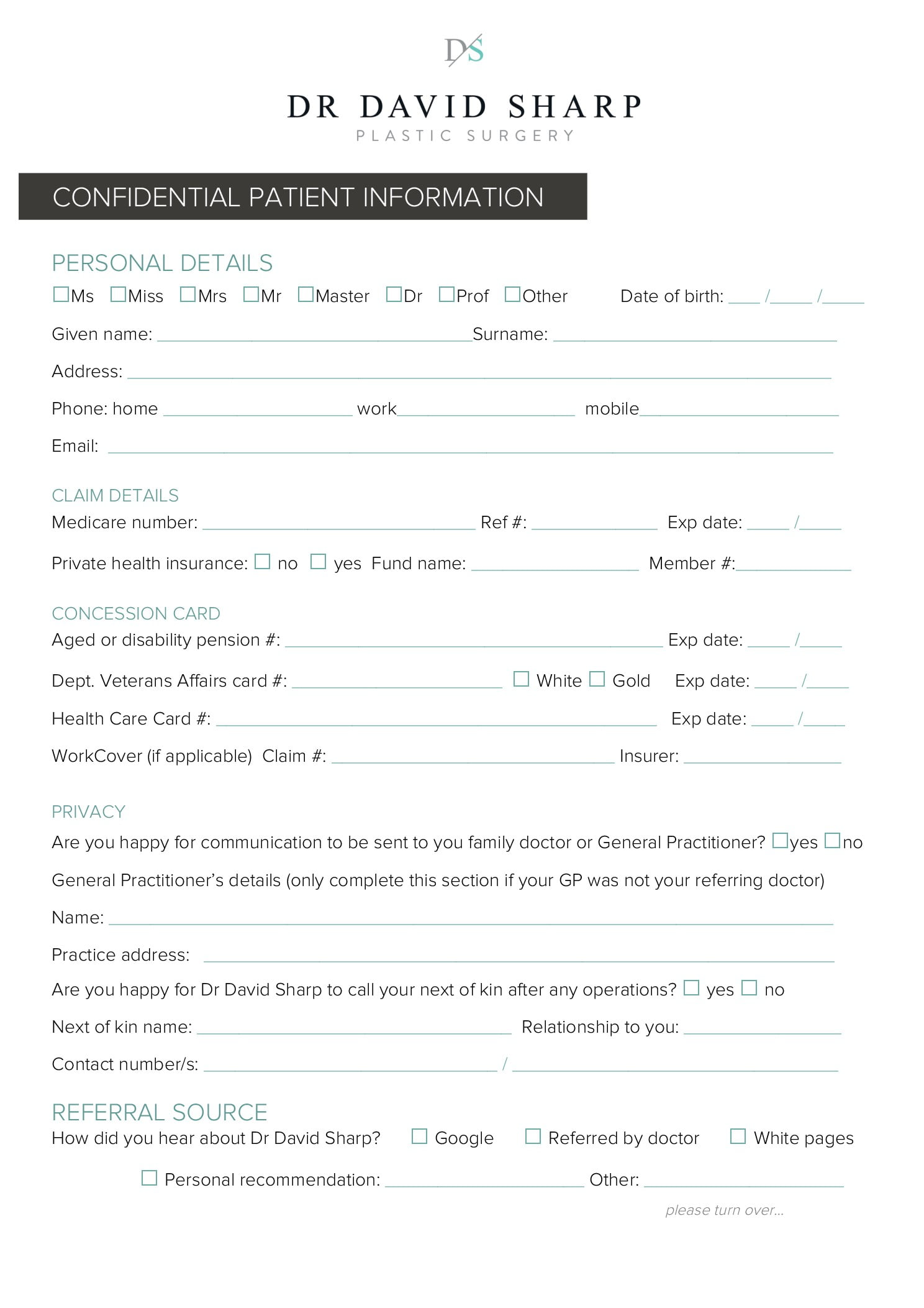 New Patient Registration Form Dr David Sharp