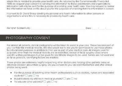 Dr DAvid Sharp plastic surgery registration form p2