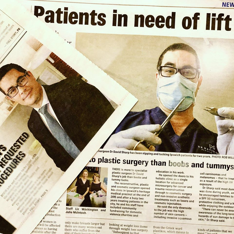 Dr David Sharp plastic surgeon Brisbane Ipswich media article
