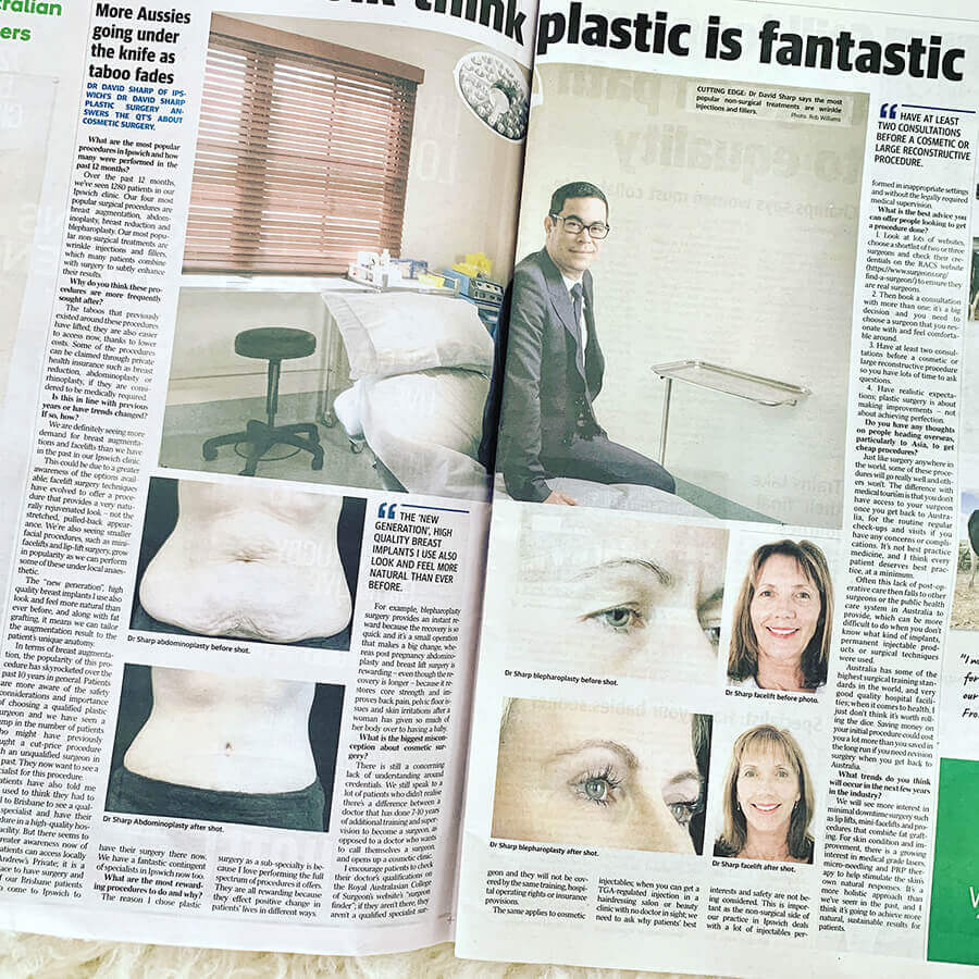 Dr David Sharp Plastic Surgeon in the press and media